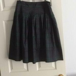 Pure silk tartan plaid skirt